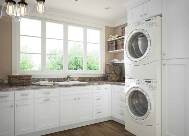 Arctic White Shaker RTA Laundry Room Cabinets