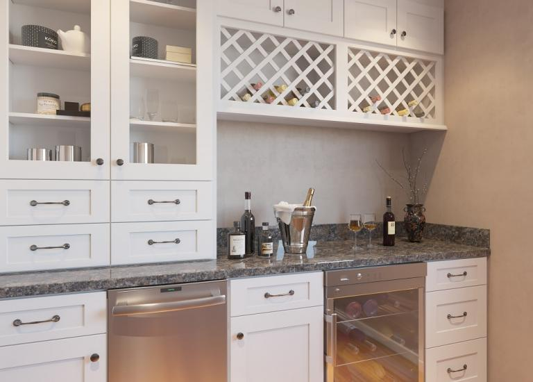 Aspen White Shaker RTA Bar Room Cabinets