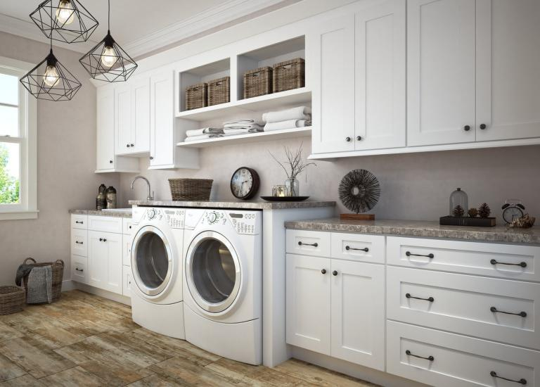 Aspen White Shaker Pre Embled Laundry Room Cabinets