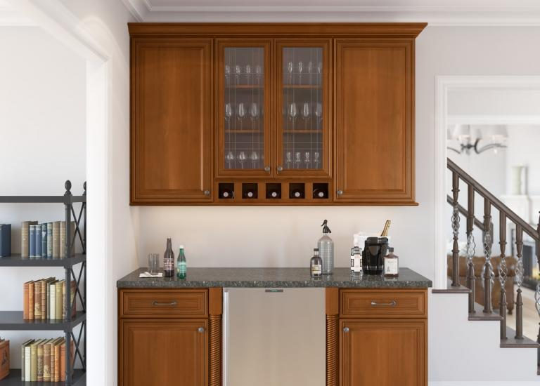 Cafe Mocha Glaze RTA Bar Room Cabinets