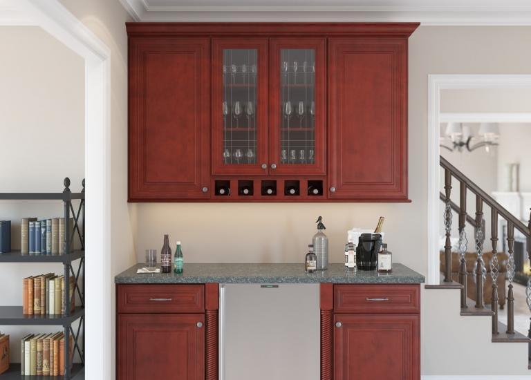 Cayenne Cognac RTA Bar Room Cabinets