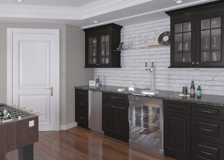 Dakota Espresso Pre-Assembled Bar Room Cabinets