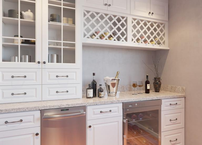 Dakota White Pre-Assembled Bar Room Cabinets