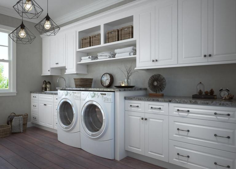 Dakota White RTA Laundry Room Cabinets