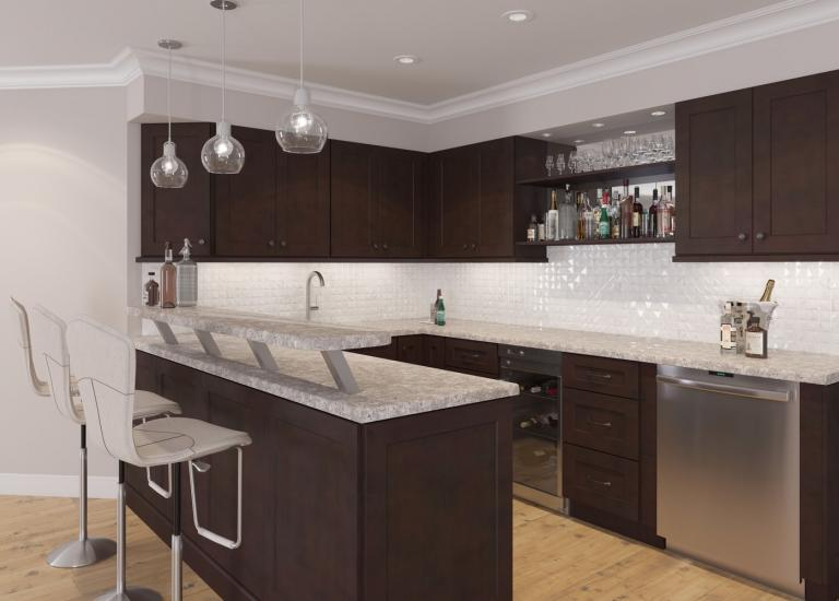 Dark Chocolate Shaker RTA Bar Room Cabinets