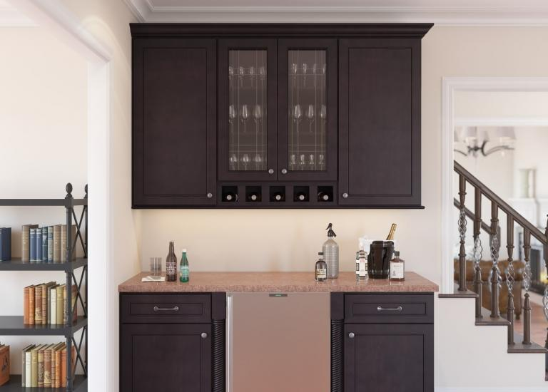 Espresso Bean RTA Bar Room Cabinets