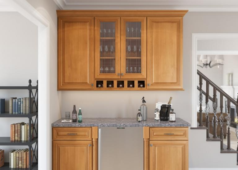 Glazed Toffee RTA Bar Room Cabinets