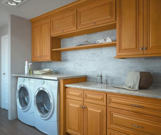 Glazed Toffee RTA Laundry Room Cabinets