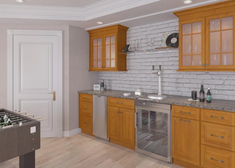 Harvest Oak RTA Bar Room Cabinets & Ready to Assemble Bar Room Cabinets - Bar Room Cabinetry - Vanities ...