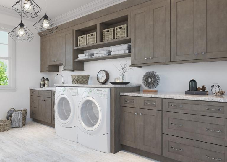 Natural Graphite Grey Shaker RTA Laundry Room Cabinets