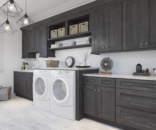 Natural Grey Shaker RTA Laundry Room Cabinets