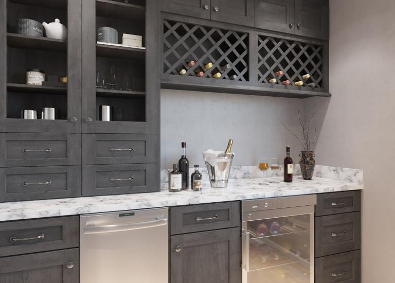 Natural Graphite Grey Shaker RTA Bar Room Cabinets