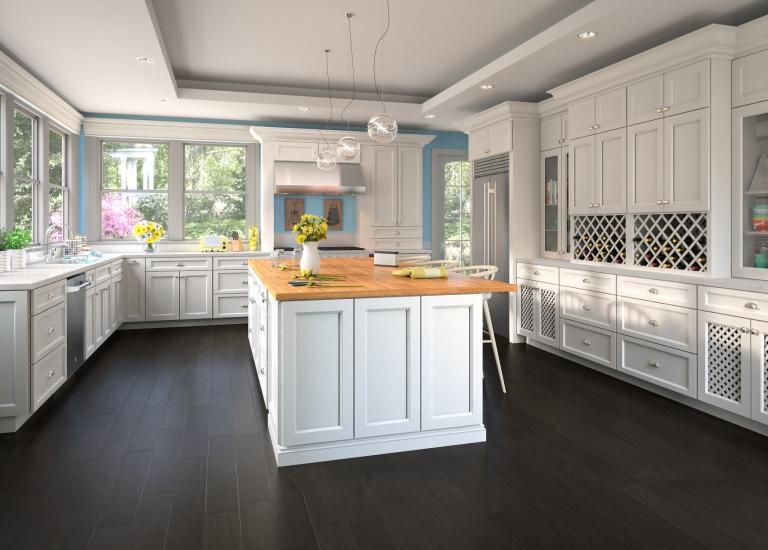 Model Home White Kitchen ready to assemble kitchen cabinets - kitchen cabinets