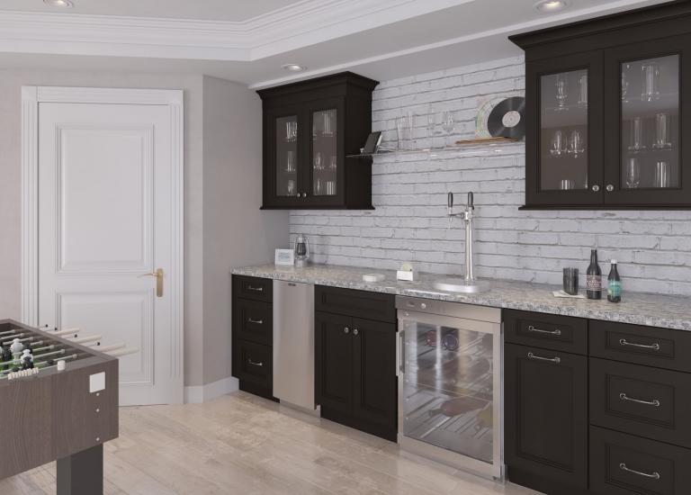 Newport Espresso Pre-Assembled Bar Room Cabinets