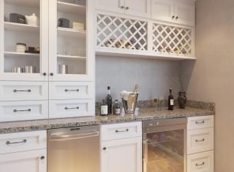 Providence White RTA Bar Room Cabinets