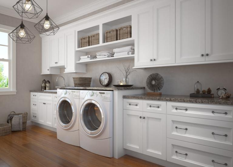 Newport White RTA Laundry Room Cabinets