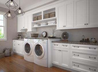 Providence White RTA Laundry Room Cabinets