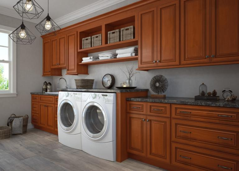 Nutmeg Twist Pre-Assembled Laundry Room Cabinets