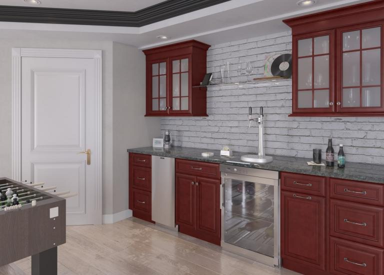 Regency Pomegranate Glaze Pre-Assembled Bar Room Cabinets
