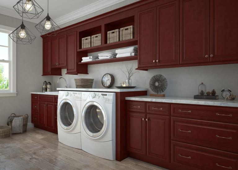 Regency Pomegranate Glaze RTA Laundry Room Cabinets