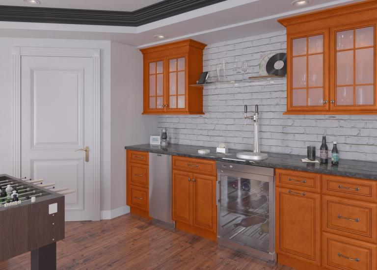 Regency Spiced Glaze Pre-Assembled Bar Room Cabinets