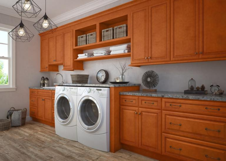 Regency Spiced Glaze RTA Laundry Room Cabinets