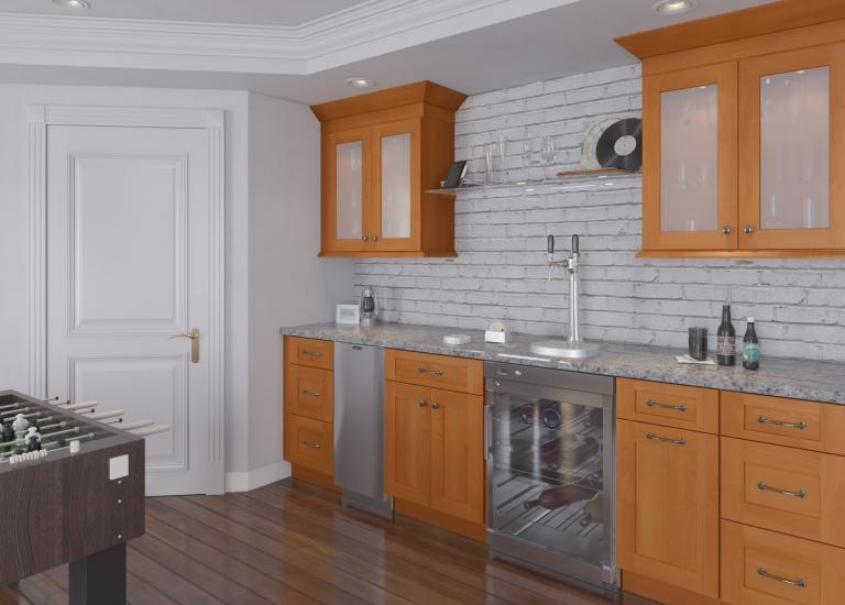 Shaker Honey Pre-Assembled Bar Room Cabinets