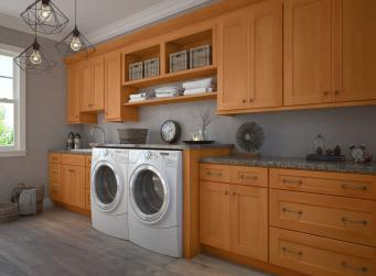 Shaker Honey Pre-Assembled Laundry Room Cabinets
