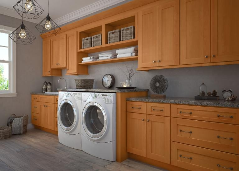 Shaker Honey RTA Laundry Room Cabinets