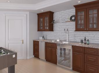 Signature Chocolate Pre-Assembled Bar Room Cabinets