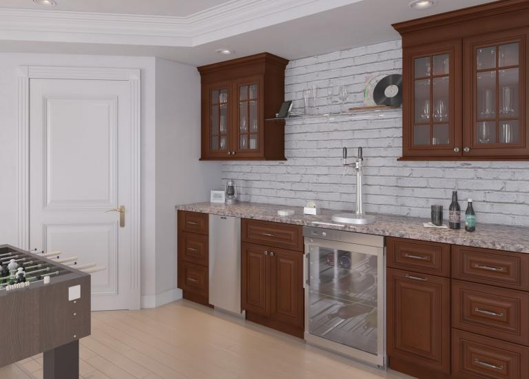Signature Chocolate RTA Bar Room Cabinets