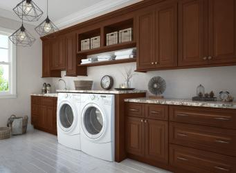Signature Chocolate RTA Laundry Room Cabinets