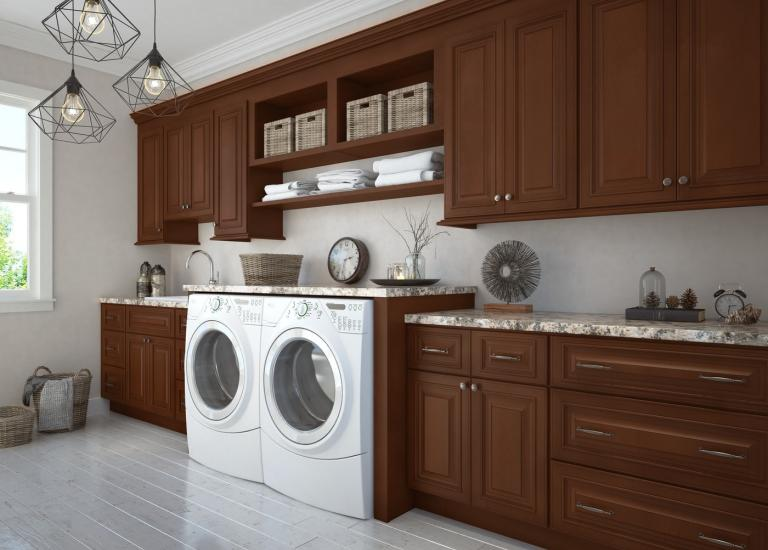 Signature Chocolate Pre-Assembled Laundry Room Cabinets