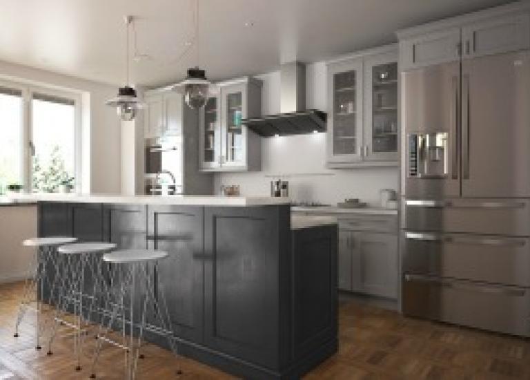 Society Shaker Steel Gray Bar Room Cabinets