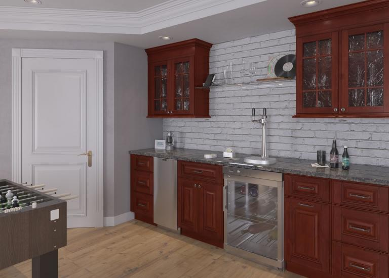 Sonoma Merlot Pre-Assembled Bar Room Cabinets