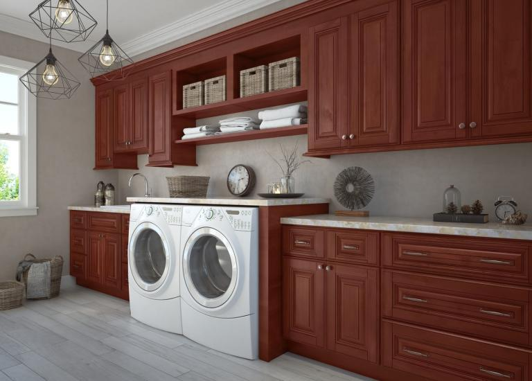 Sonoma Merlot Pre-Assembled Laundry Room Cabinets