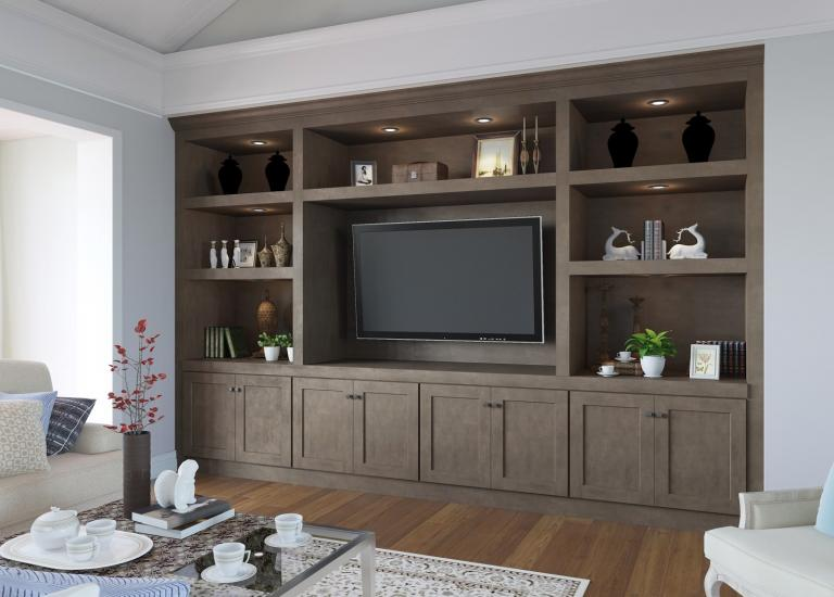 Natural Graphite Grey Shaker RTA TV Room Cabinets