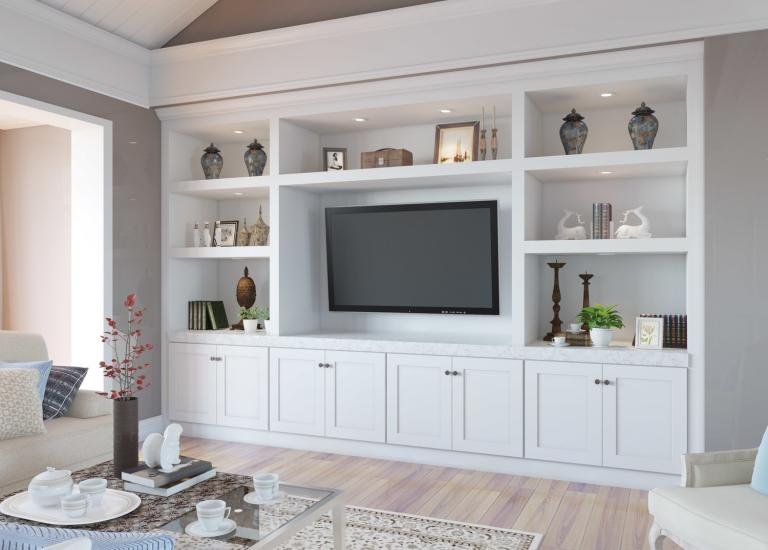 Aspen White Shaker RTA TV Room Cabinets