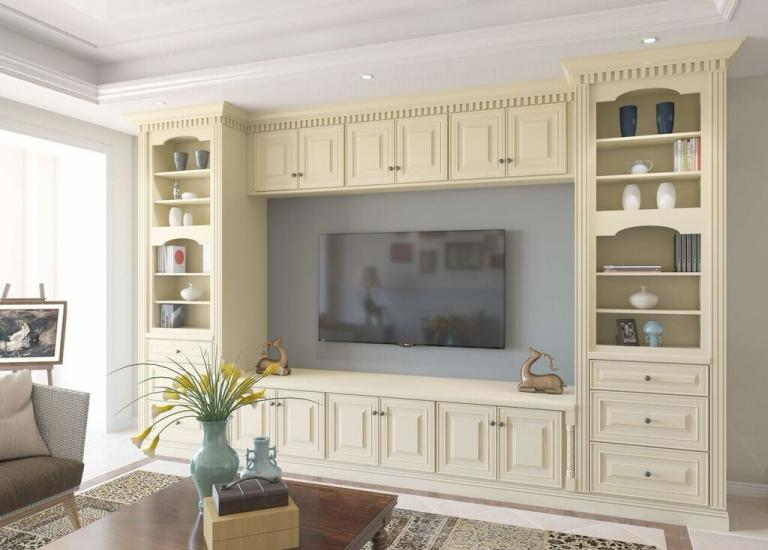 French Vanilla Glaze RTA TV Room Cabinets