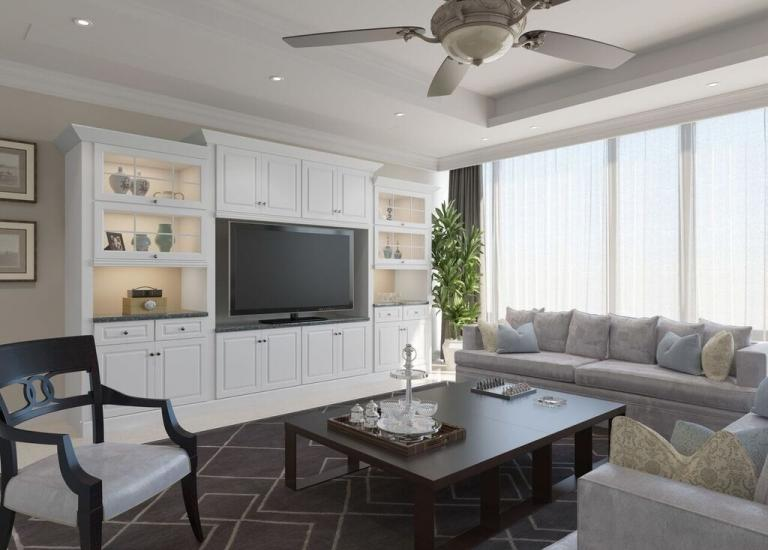 Dakota White RTA TV Room Cabinets