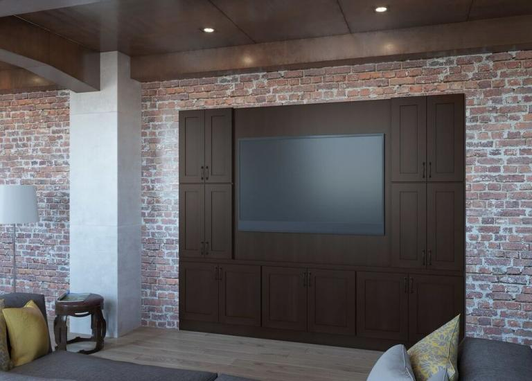 Dark Chocolate Shaker RTA TV Room Cabinets