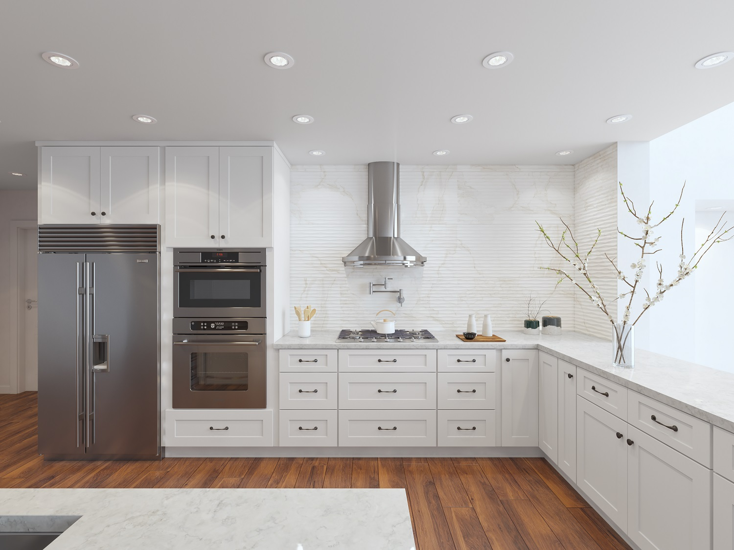 Arctic White Shaker Ready To Assemble Kitchen Cabinets