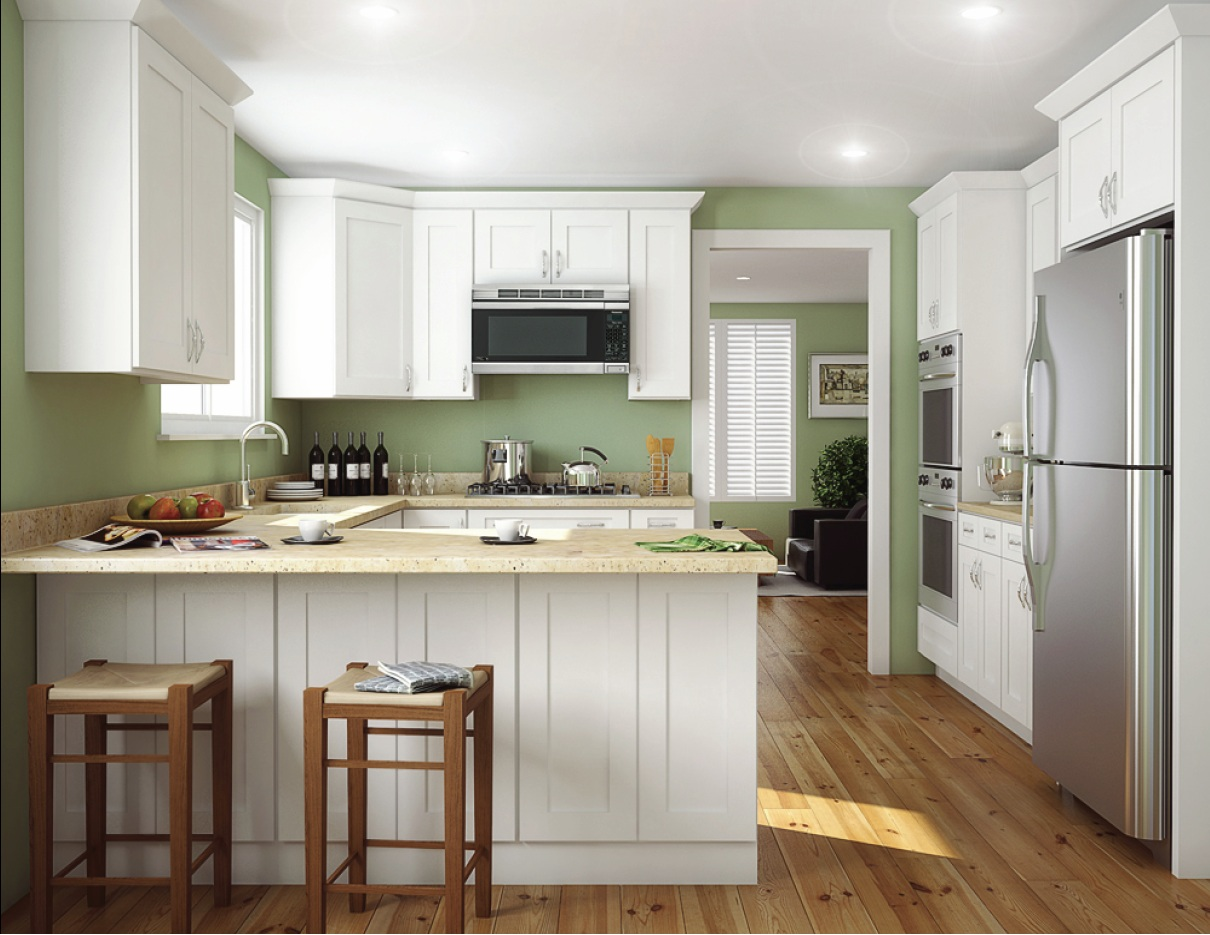 Aspen white shaker ready to assemble kitchen cabinets for Armoire cuisine home depot
