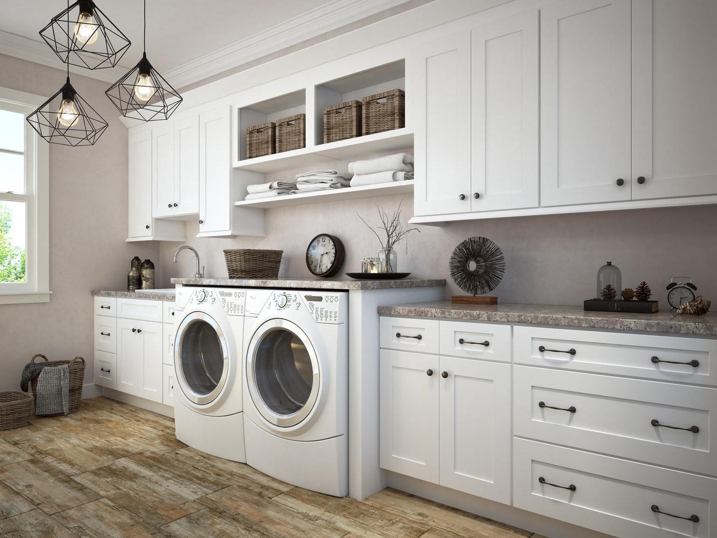 aspen white shaker pre assembled laundry room cabinet the rta store. Black Bedroom Furniture Sets. Home Design Ideas