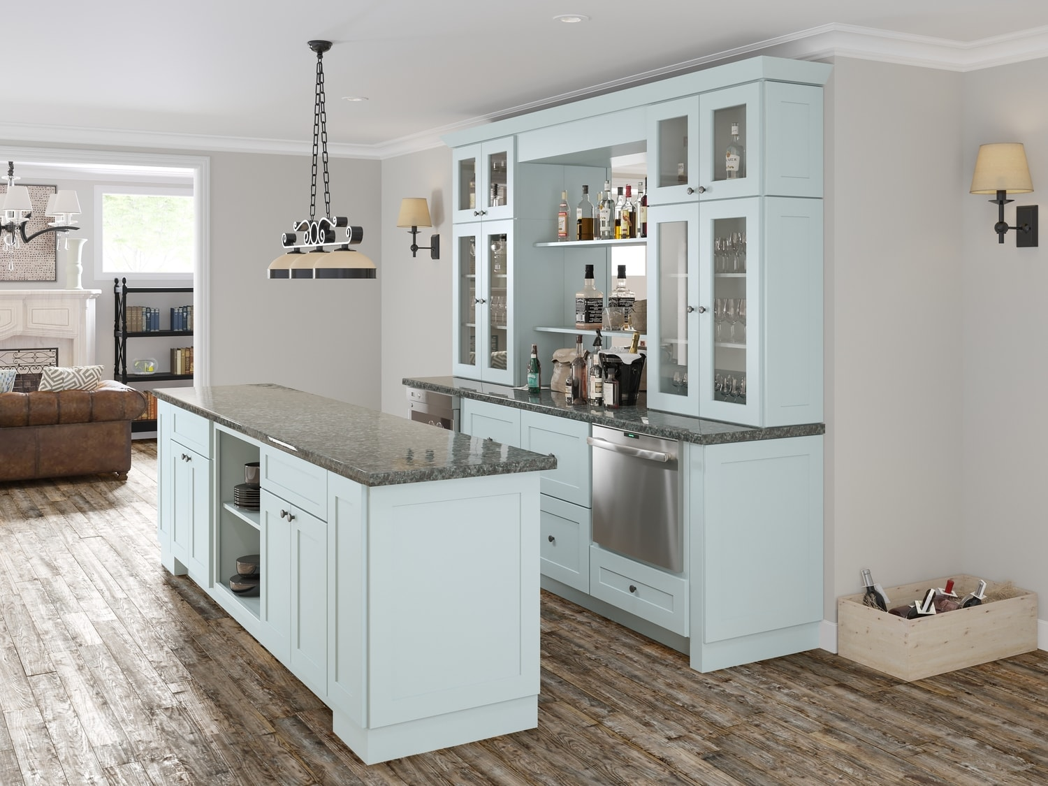 Society shaker tidewater semi custom pre assembled for Pre assembled kitchen cupboards