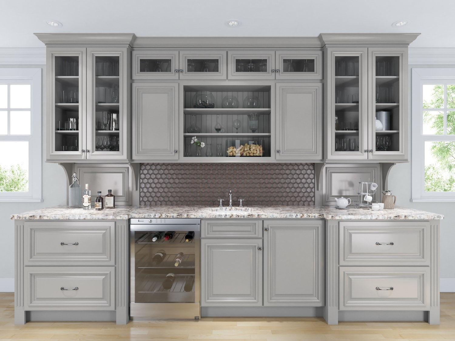 Roosevelt dove gray pre assembled kitchen cabinets the for Pre assembled kitchen cabinets