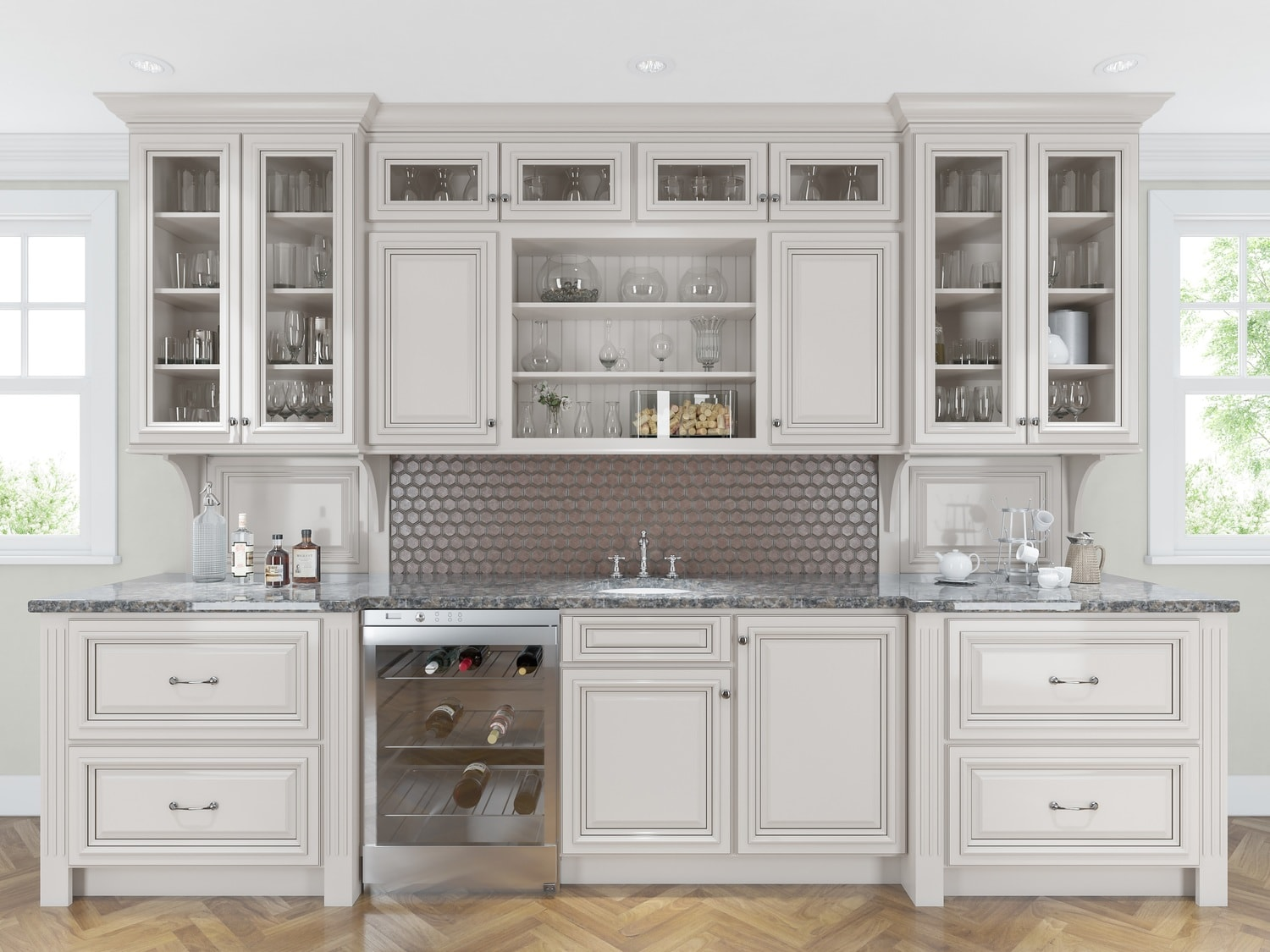 Roosevelt white pre assembled kitchen cabinets the rta store for Pre assembled kitchen cabinets
