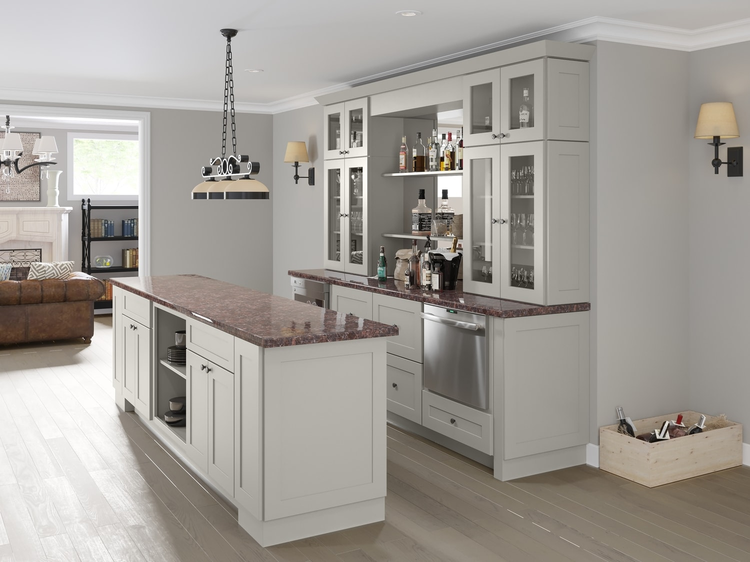 Society shaker steel gray pre assembled kitchen cabinets for Assembled kitchen cabinets