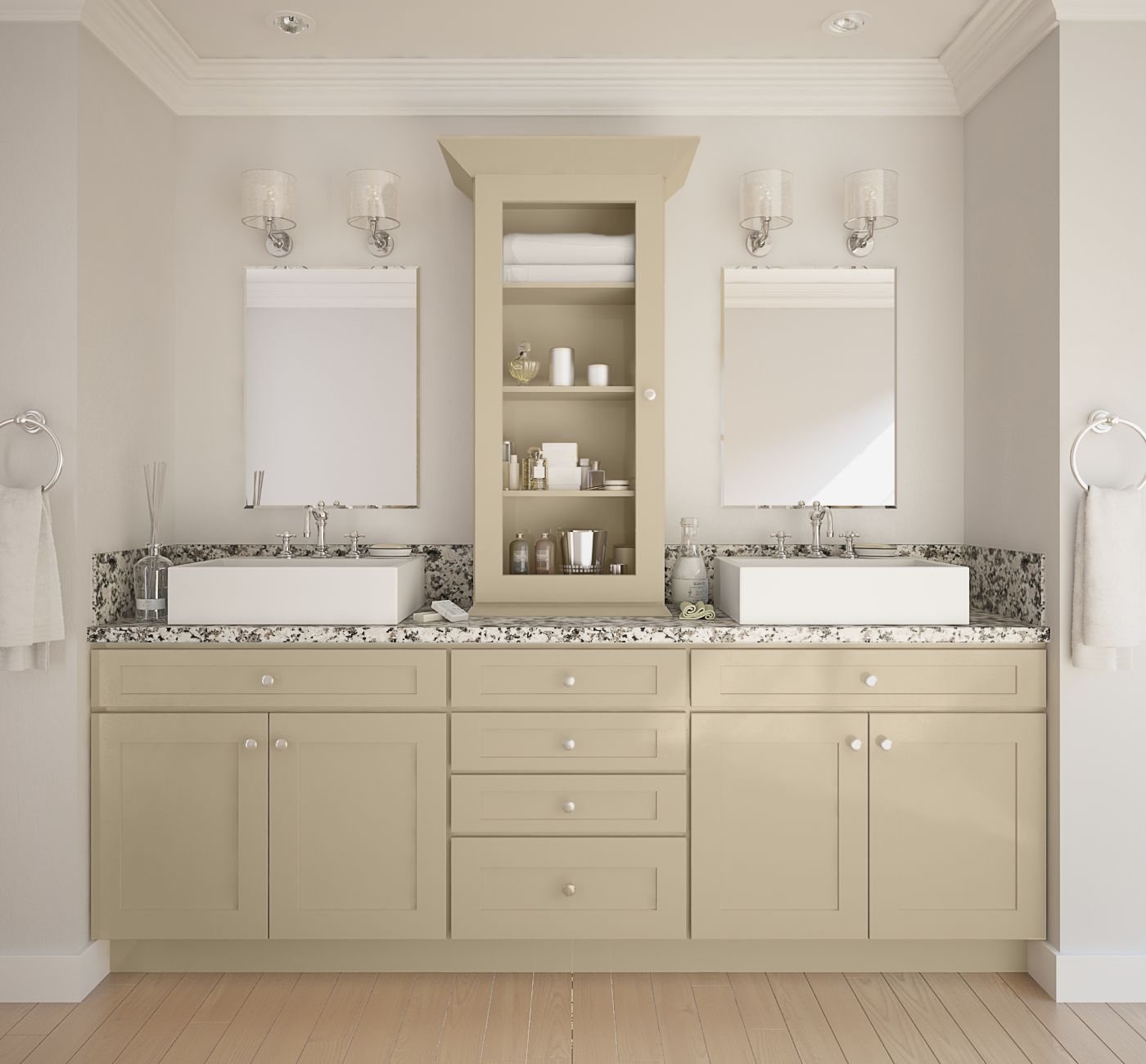 Society shaker khaki semi custom pre assembled kitchen for Pre assembled kitchen units