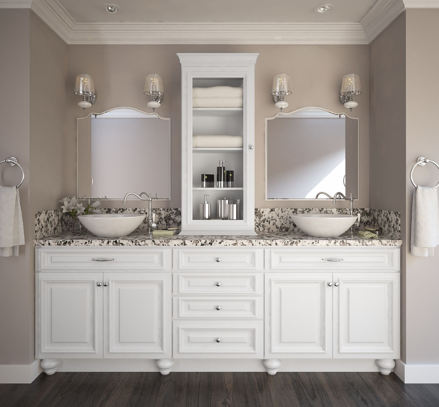 Preassembled Kitchen Cabinets: Semi Custom Roosevelt White Pre-Assembled Kitchen Cabinets